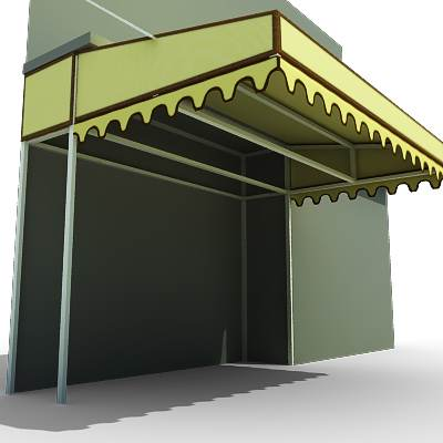 model: 3D typical market tent