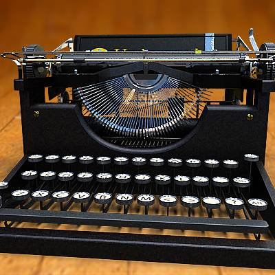The 3D model of a Retro style Typewriter