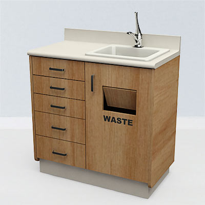 3D model of a Dental cabinet with sink