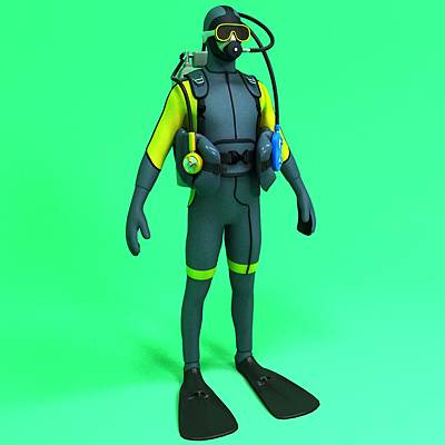 model: Fully equipped 3D diver