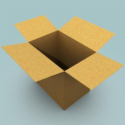 3D model of an open cardboard box