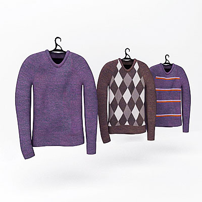 3D model of Sweaters on rack