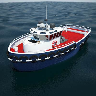 Small sea Tug 3D model