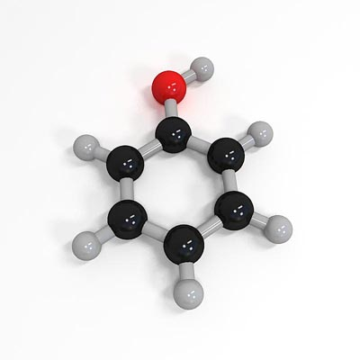 3D model of Phenol molecule structure