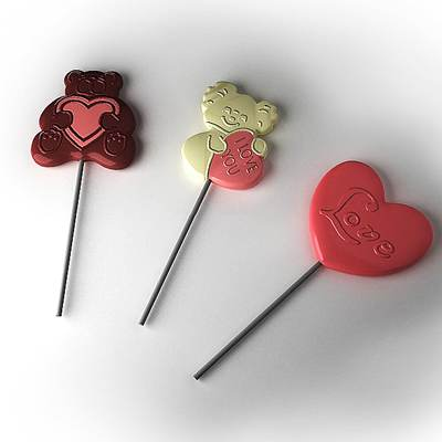 model: 3D Valentine's Day Lollipops with bears