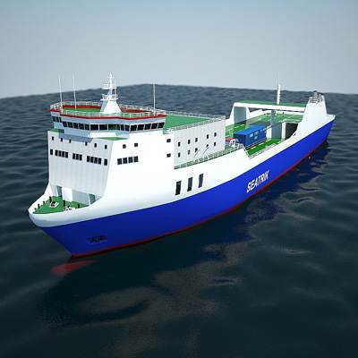 Ro-ro container ship carrying a cargo vehicle 3D model