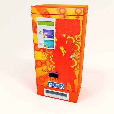 The 3D model of a Condom vending machine