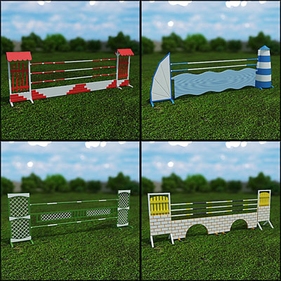3D model of Showjumping fences