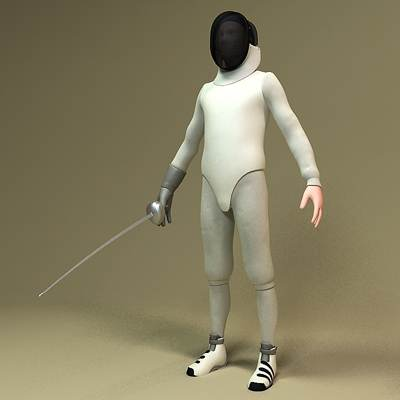 model: 3D fencer , ready for a duel