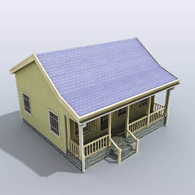 3D model: Light green small house  $29 95 [buy, download]