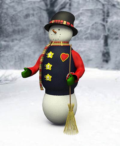 model: 3D snowmen with nice clothes