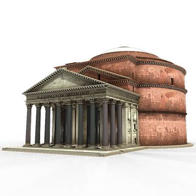 The 3D model of the Great building Pantheon