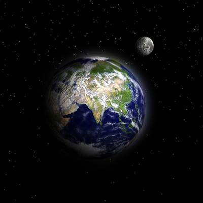 Earth planet with Moon 3D model