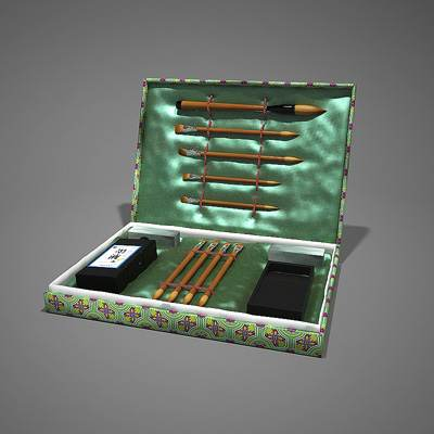 The 3D model of a set of calligraphy tools