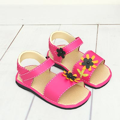 model: 3D Pink sandals with yellow flowers on straps