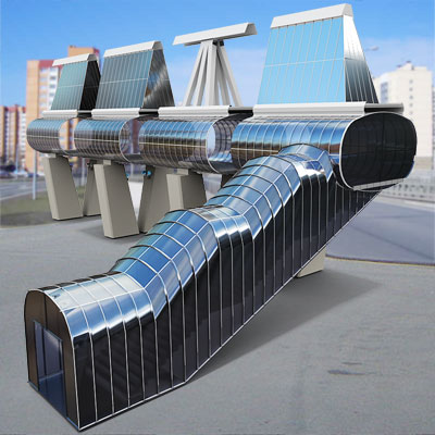 3D model of a modern glass bridge