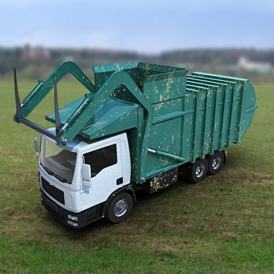 A typical front loader Garbage Truck 3D model