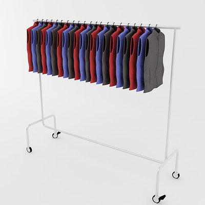 3D model of Waistcoasts classic on rack<br />