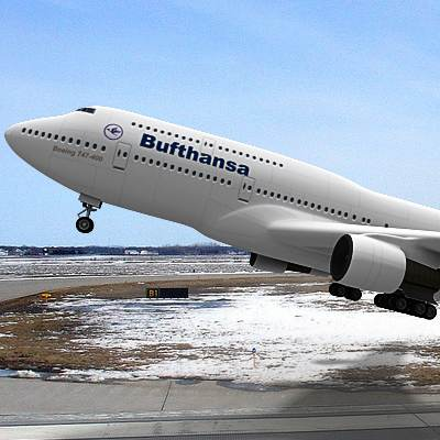 The 3D model of a B-747 often called Jumbo, textured as a Lufthansa plane