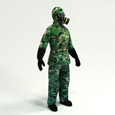 model: 3D solider in camouflage military suit