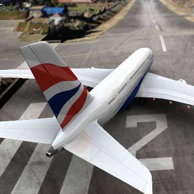 Airbus-A380 textured as a British Airways plane 3D model
