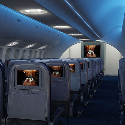 3D model of an Economy class interior<br />