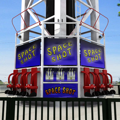 3D model of a Space Shot ride