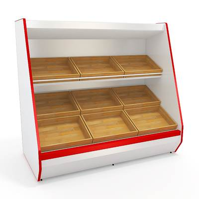 model: The 3D inclined trading shelving with wooden sections