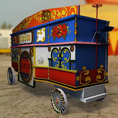 Old fashioned highly detailed circus trailer 3D model