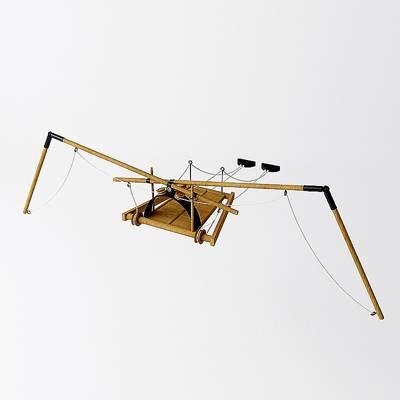 A 3D model of a flying machine by da Vinci