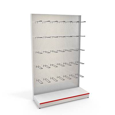 3D model of a perforated rack with metal pegs
