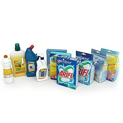 The 3D model of the household cleaning products set (detergents, sprays, cleaners)