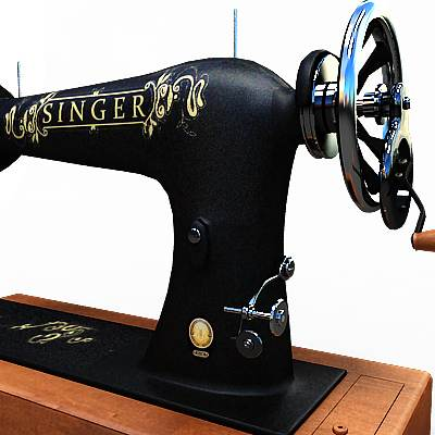 The 3D model of an Old style Singer sewing machine