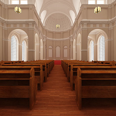 3D model of Catholic church interior
