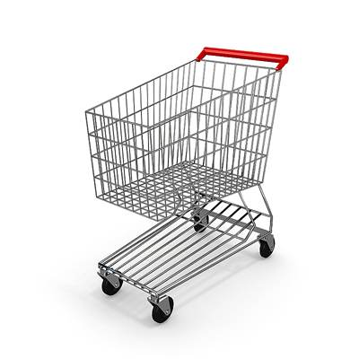 3D model: A large metal shopping cart