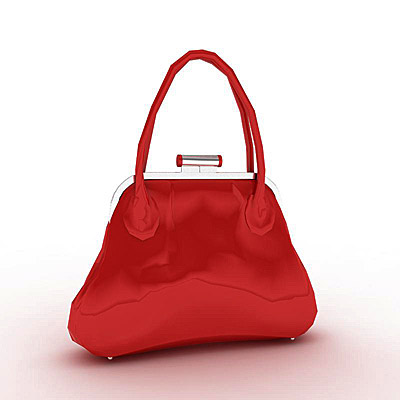 3D model of a Red ladies handbag