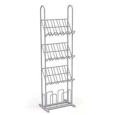 The 3D model of an Empty display shelf meant for magazines display
