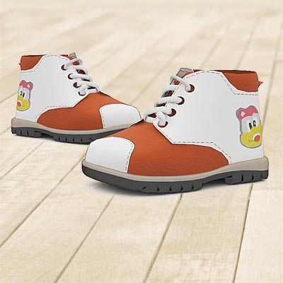 model: 3D White and brown toddlers' boots with funny pictures