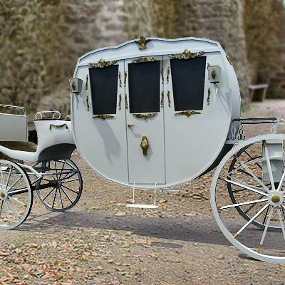 3D model: A game ready model of a horse drawn carriage