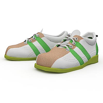 model: 3D White sneakers with green stripes on sides