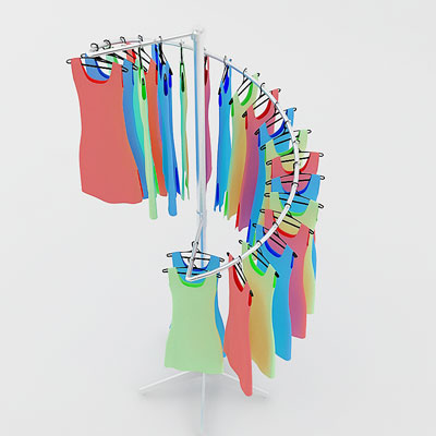 3D model of Summer dresses on rack