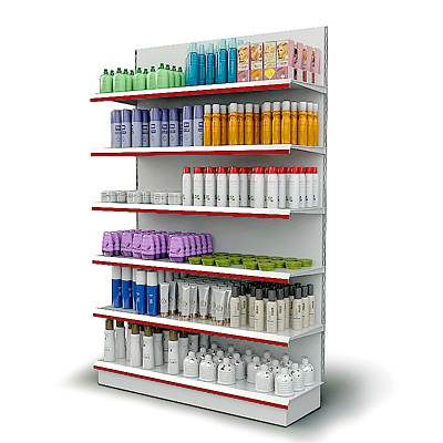 The 3D model of Display shelving with hair and skin care supplies