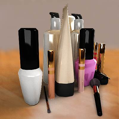 3D model: Very realistic make up set