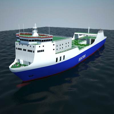 Ro-ro empty container ship 3D model