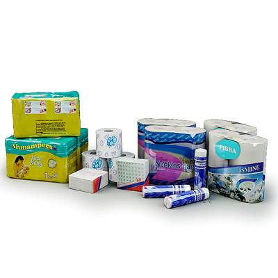 Health and beauty aids in soft wrapping (napkin, toilet-paper, diapers, cotton plugs) 3D models