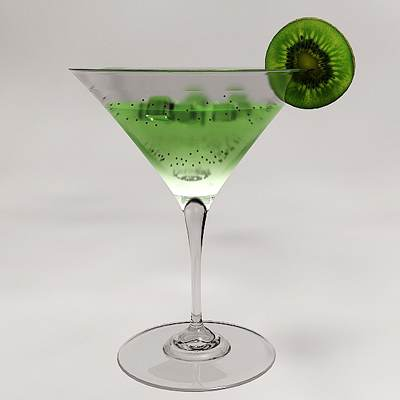 3D model: Kiwi martini cocktail<br />