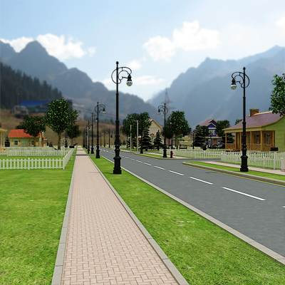 model: 3D Town in the hills