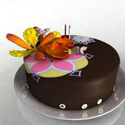 model: 3D cake with glaze and flower on top