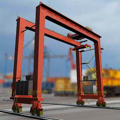 The 3D model of a Seaport overhead crane