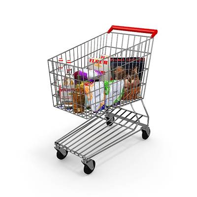 model: A large metal shopping 3D cart with goods